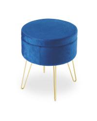 Kirkton House Velvet Storage Stool - Royal Blue