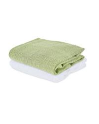 Small Cellular Blanket 2 Pack - White/Green