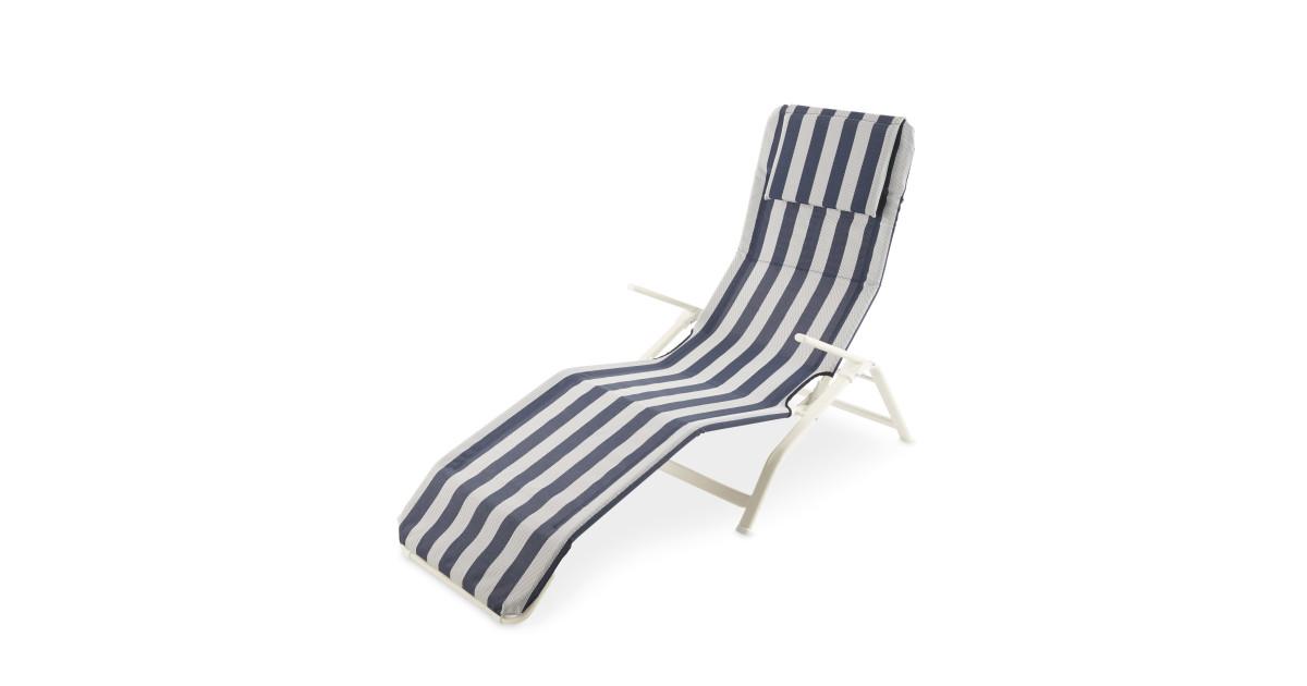 white blue reclining sunlounger deal at aldi offer calendar. Black Bedroom Furniture Sets. Home Design Ideas